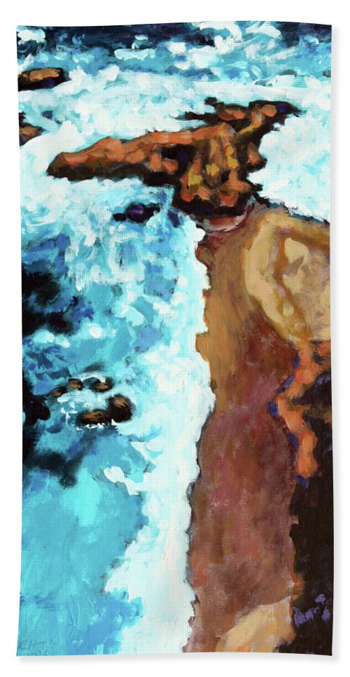 Ocean Bath Towel featuring the painting Flight Over Ocean by John Lautermilch
