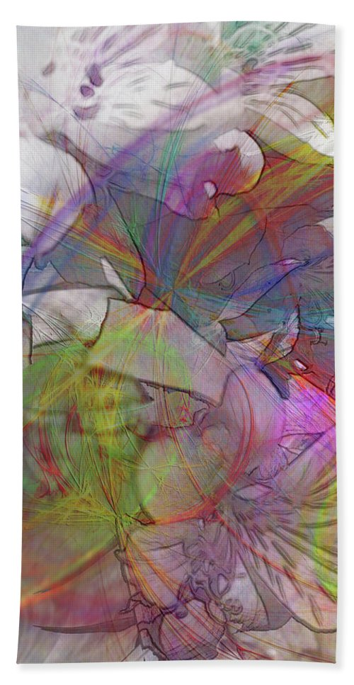 Floral Fantasy Hand Towel featuring the digital art Floral Fantasy by John Robert Beck