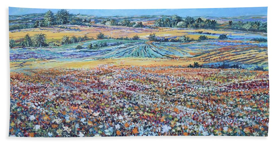 Flower Bath Towel featuring the painting Flower Field by Sinisa Saratlic