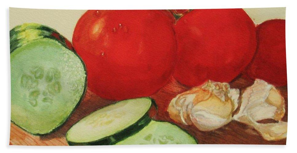 Still Life Hand Towel featuring the painting Fresh Veggies by Karen Ilari
