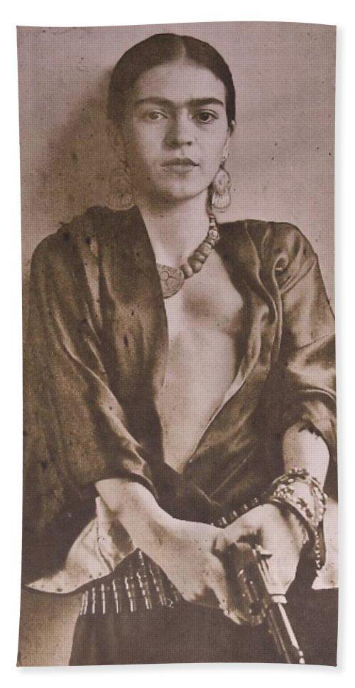 Frida Kahlo Holding A Gun Bath Towel For Sale By Donna Wilson