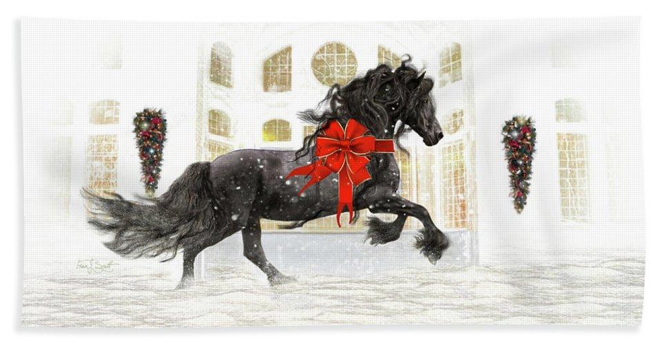 Friesian Bath Towel featuring the digital art Friesian Christmas by Fran J Scott