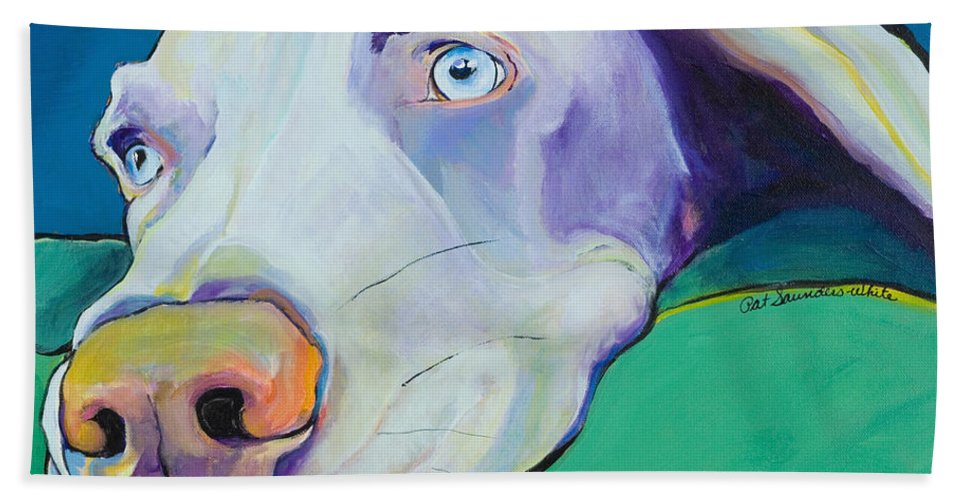 Pat Saunders-white Bath Sheet featuring the painting Fritz by Pat Saunders-White
