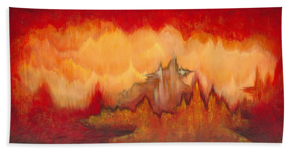 Red Hand Towel featuring the painting From the Valley by Shadia Derbyshire