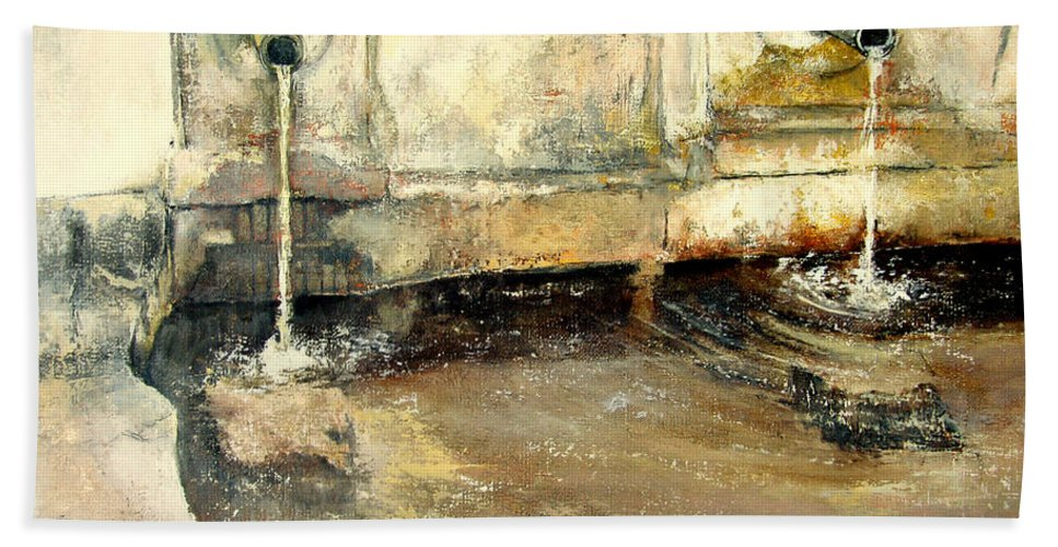 Fuente Bath Towel featuring the painting Fuente by Tomas Castano