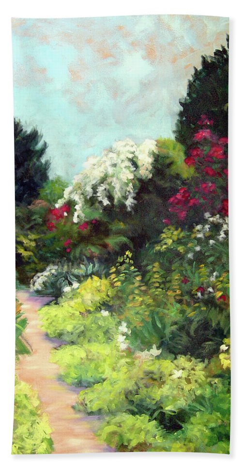 Landscape Bath Towel featuring the painting Garden Path Giverney by Diane Martens
