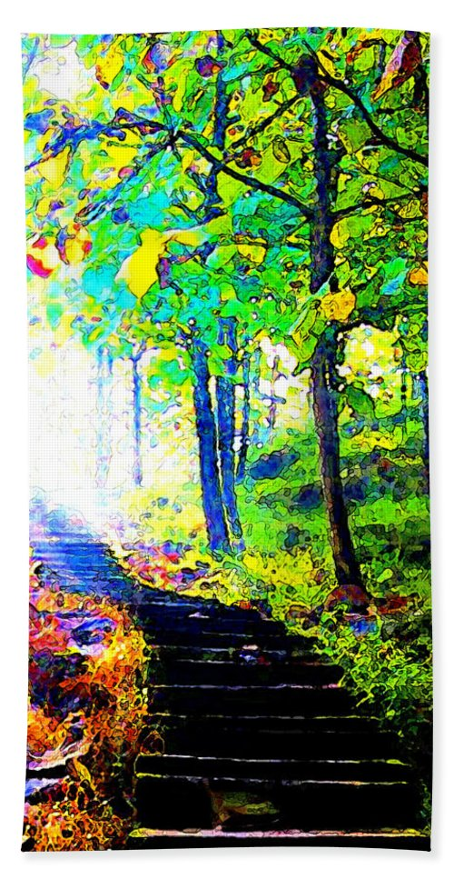 Landscape Hand Towel featuring the digital art Garden Stairway Abstract by Linda Mears