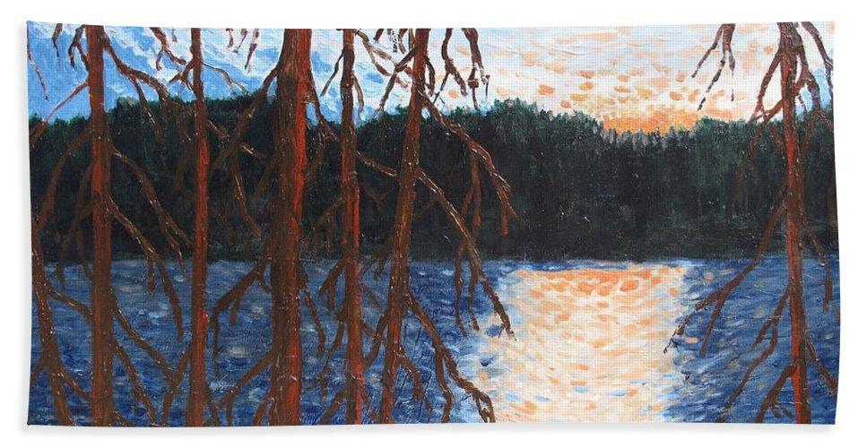 Setting Sun Bath Towel featuring the painting Georgian Bay Ghosts by Ian MacDonald