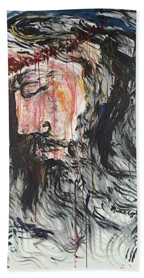 Jesus Bath Sheet featuring the painting Gethsemane to Golgotha by Nadine Rippelmeyer