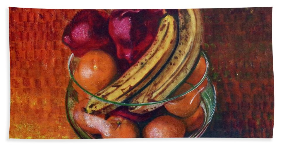 Oil Painting On Canvas Bath Sheet featuring the painting Glass Bowl Of Fruit by Sean Connolly