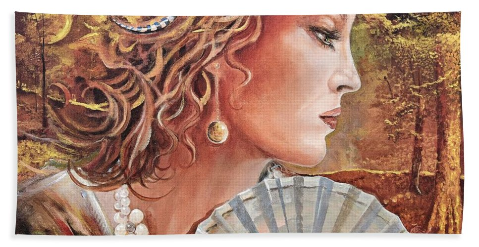 Female Portrait Bath Towel featuring the painting Golden Wood by Sinisa Saratlic