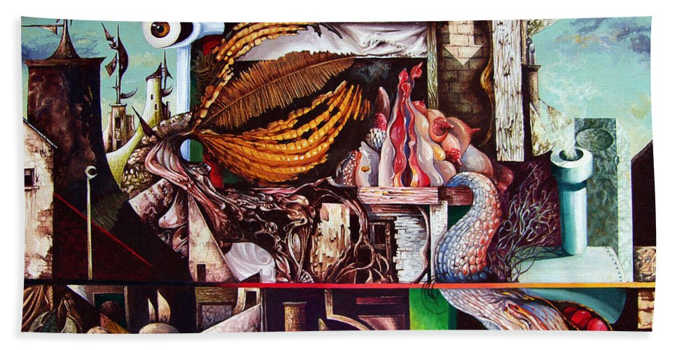 Surrealism Bath Towel featuring the painting Grey Day At The Factory by Otto Rapp