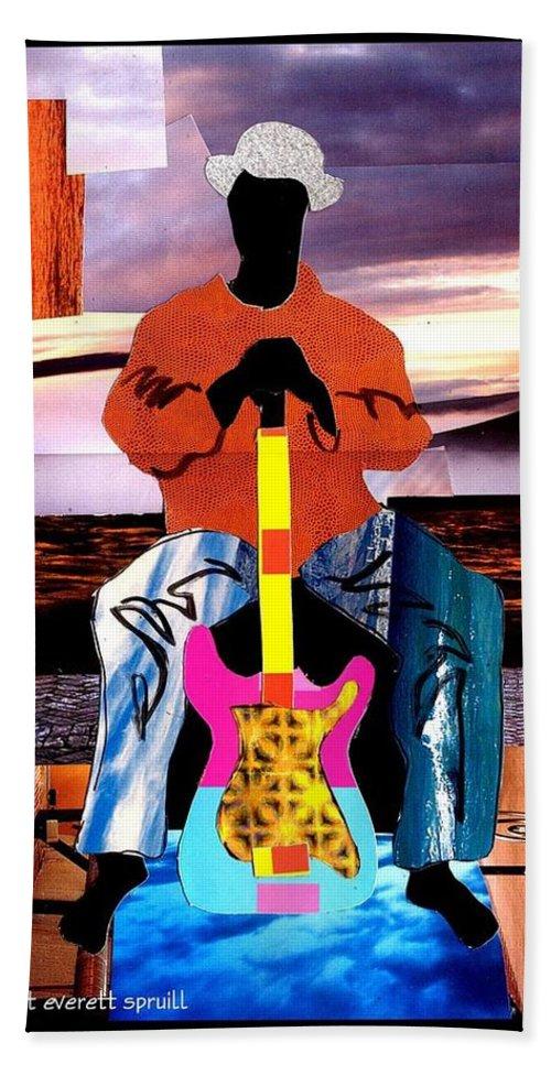 Everett Spruill Bath Sheet featuring the painting Guitar Man by Everett Spruill