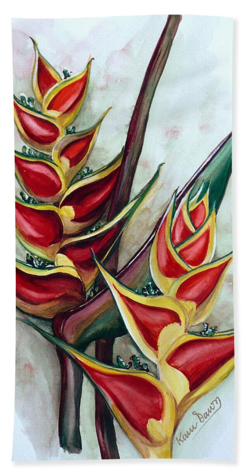 Caribbean Painting Flower Painting Floral Painting Heliconia Painting Original Watercolor Painting Of Heliconia Bloom  Trinidad And Tobago Painting Botanical Painting Bath Sheet featuring the painting Heliconia Tropicana Trinidad by Karin Dawn Kelshall- Best