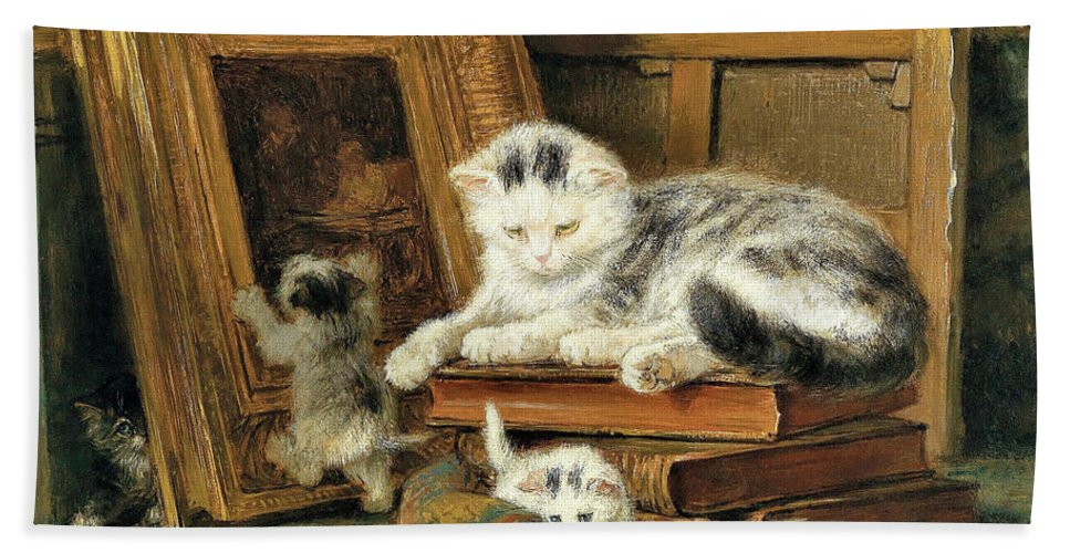 Hide And Seek Bath Towel featuring the painting Hide and seek - Digital Remastered Edition by Henriette Ronner-Knip