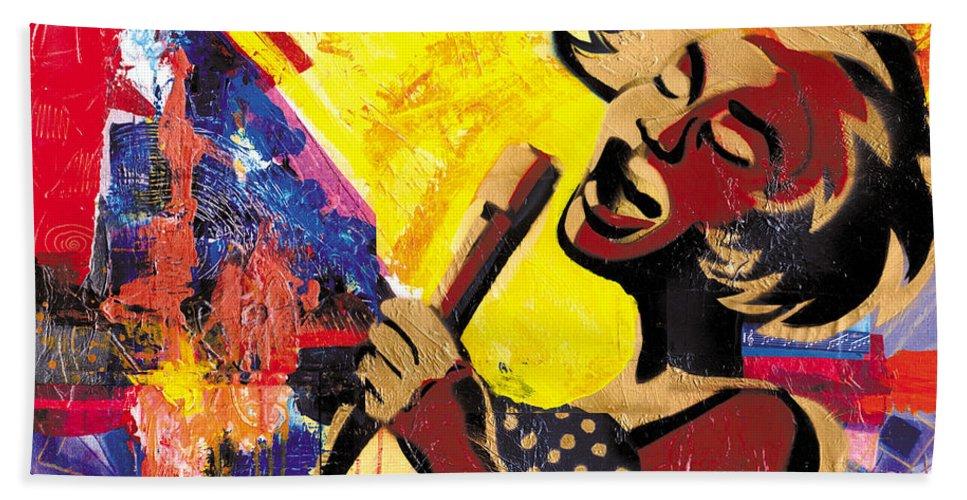 Everett Spruill Bath Towel featuring the painting I Sings Da Blues by Everett Spruill