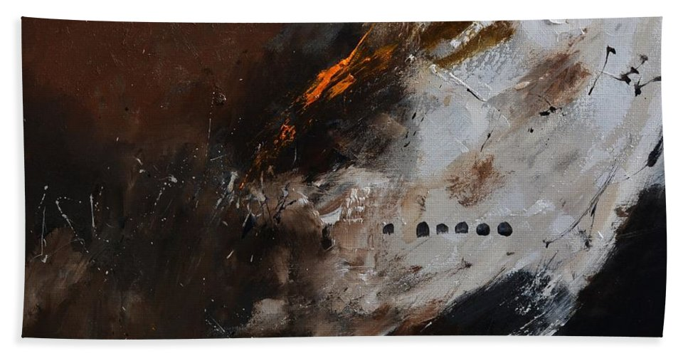 Abstract Hand Towel featuring the painting Immanent value by Pol Ledent