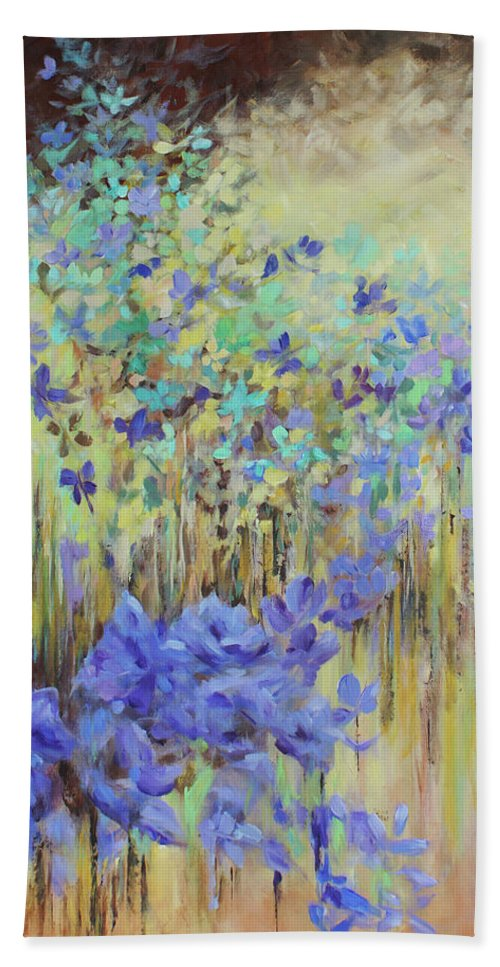 Iris Hand Towel featuring the painting In Flight by Joanne Smoley