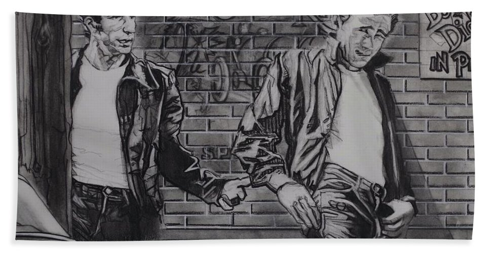 Charcoal On Paper Hand Towel featuring the drawing James Dean Meets The Fonz by Sean Connolly