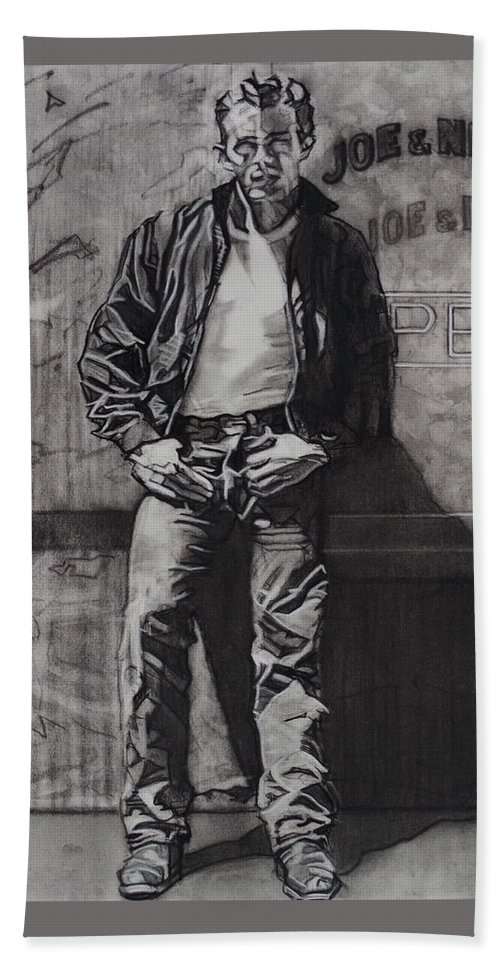 Charcoal On Paper Bath Sheet featuring the drawing James Dean by Sean Connolly