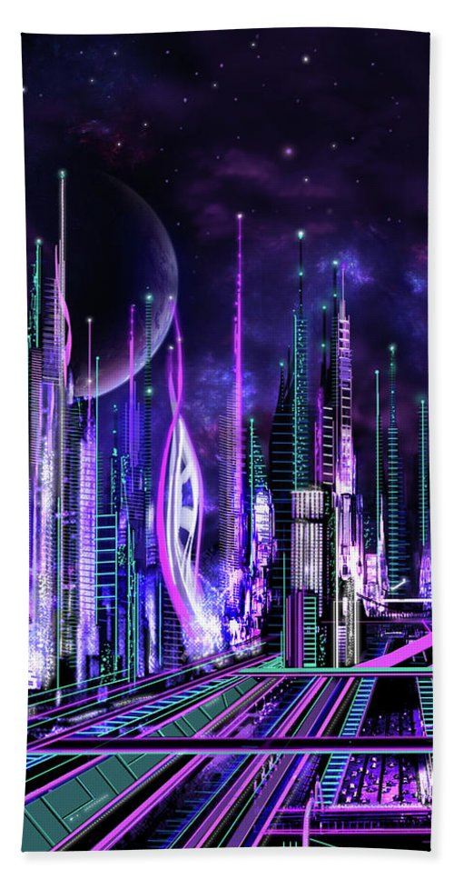 Www.jameshillgallery.com Hand Towel featuring the painting Jenarias CIty by James Christopher Hill