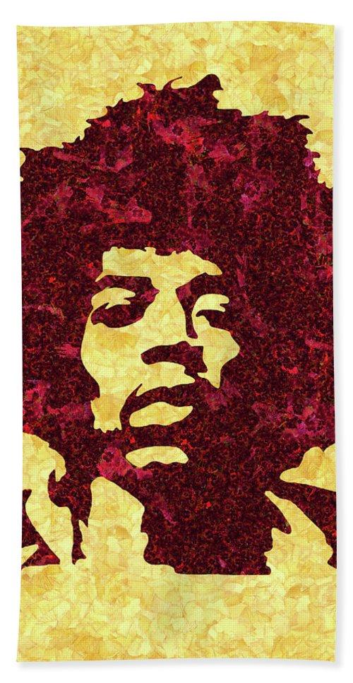 Jimi Hendrix Print Bath Towel featuring the mixed media Jimi Hendrix Print, Jimi Hendrix Poster, Rock Music Lovers Gift by Irina Pospelova