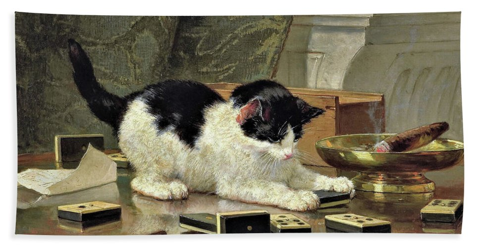 Kitten's Game Bath Towel featuring the painting Kitten's Game - Digital Remastered Edition by Henriette Ronner-Knip