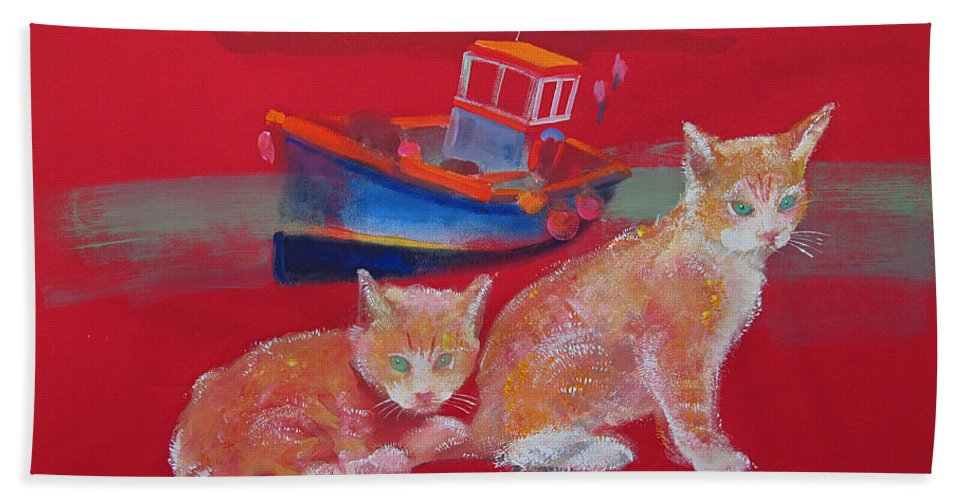Kittens Bath Towel featuring the painting Kittens With Boat by Charles Stuart