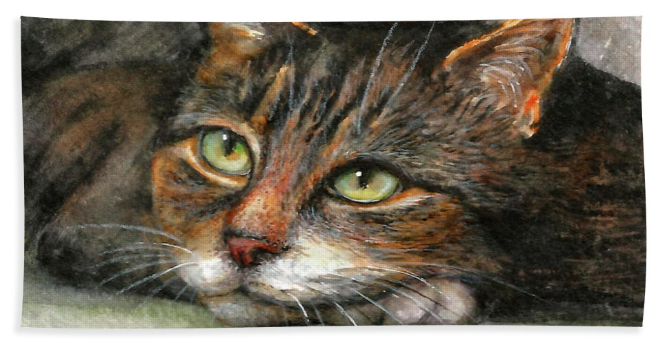 Cat Bath Towel featuring the painting Kitty by Natalja Picugina