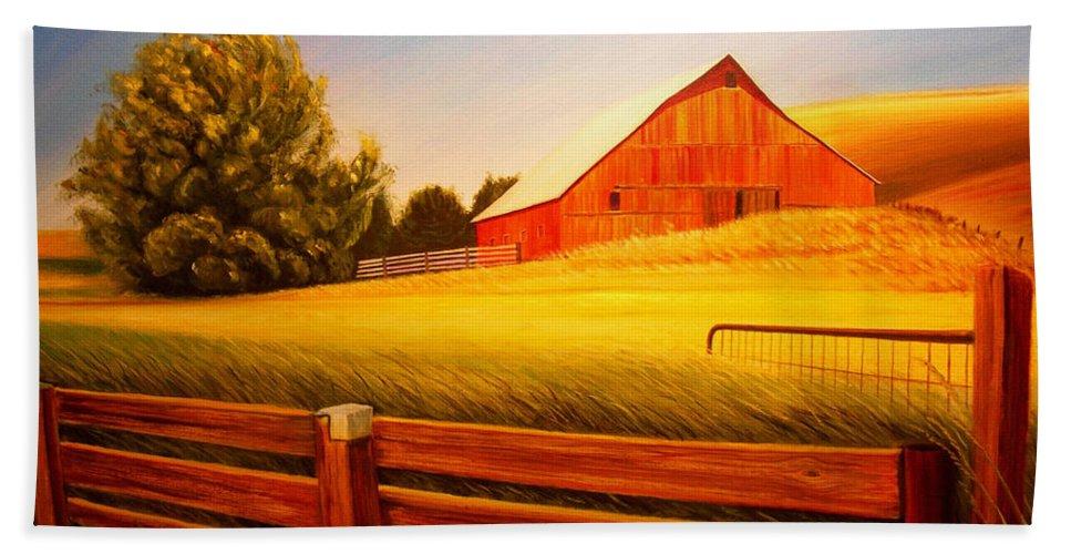 Wheat Hand Towel featuring the painting La Crosse Barn by Leonard Heid