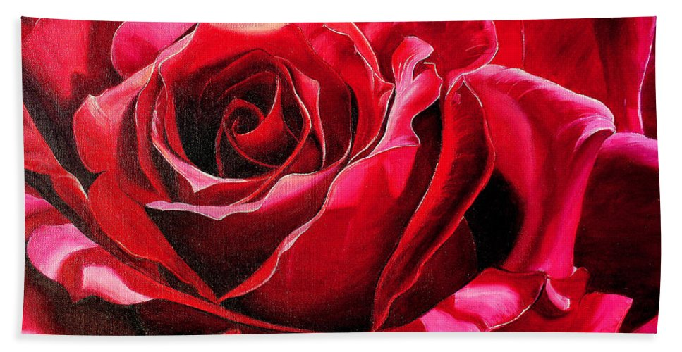Rose Painting Hand Towel featuring the painting Labelle Rose    by Karin Dawn Kelshall- Best
