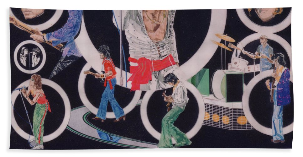 The Rolling Stones Bath Towel featuring the drawing Ladies And Gentlemen - The Rolling Stones by Sean Connolly