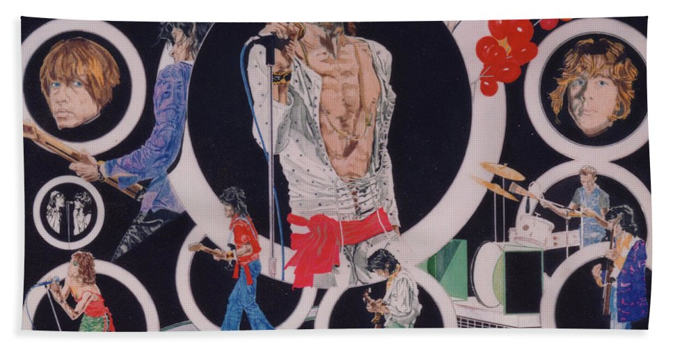 The Rolling Stones Hand Towel featuring the drawing Ladies And Gentlemen - The Rolling Stones by Sean Connolly