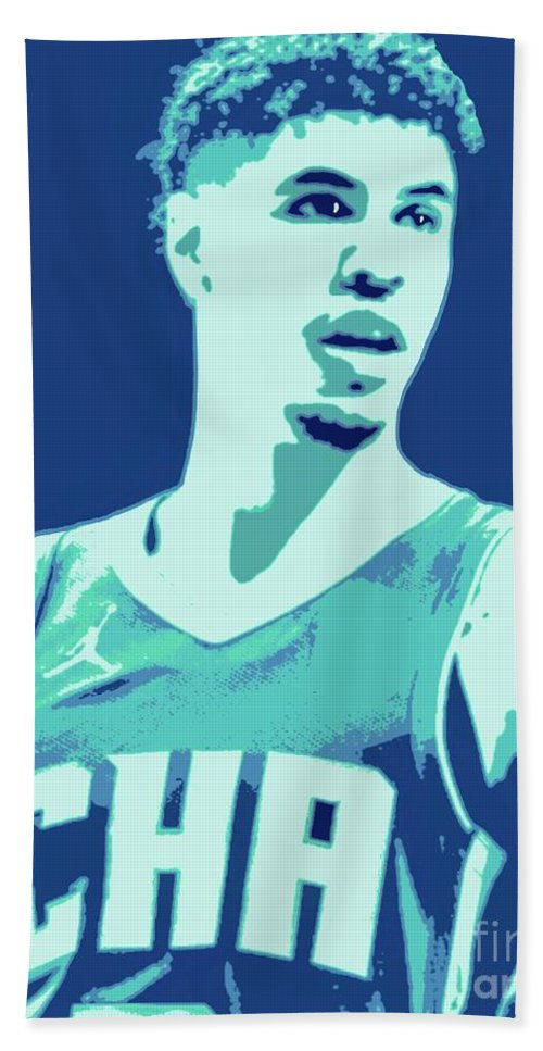 Lamelo Bath Towel featuring the painting LaMelo Ball by Jack Bunds