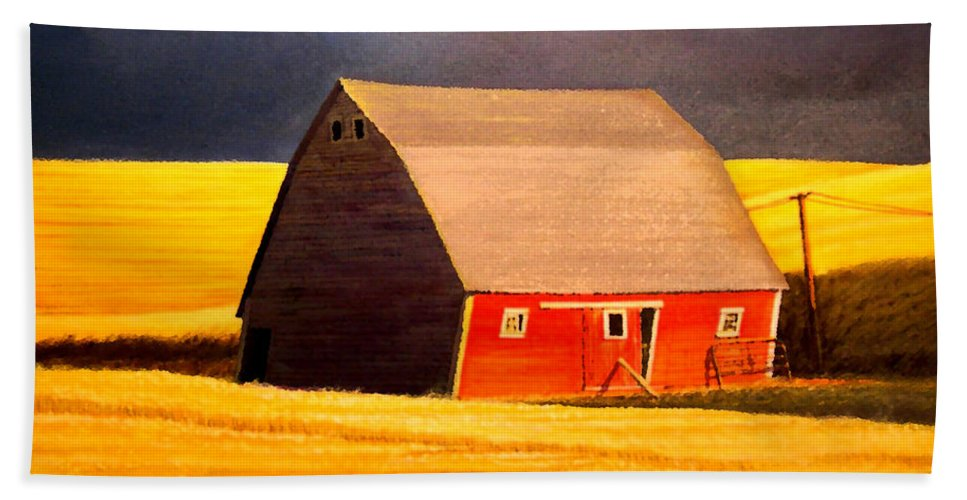 Barn Bath Sheet featuring the painting Leans to the Right by Leonard Heid