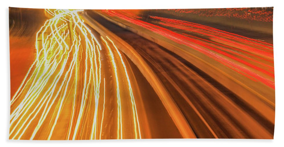 Dallas Skyline Highway Lights Bath Towel featuring the photograph Lights Into Dallas by Dan Sproul