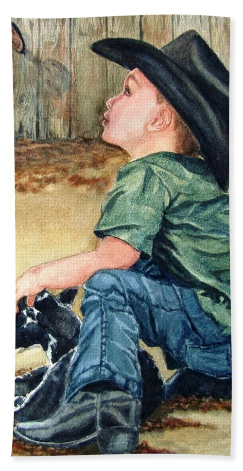 Children Hand Towel featuring the painting Little Ranchhand by Karen Ilari