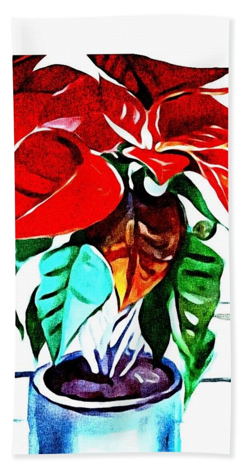 Still Life Hand Towel featuring the painting Living Flower by Andrew Johnson