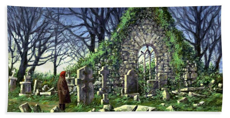 Landscape Bath Towel featuring the painting Londonderry Stones by Jim Gola