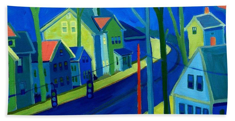 Cityscape Bath Towel featuring the painting Lowell Deluge by Debra Bretton Robinson