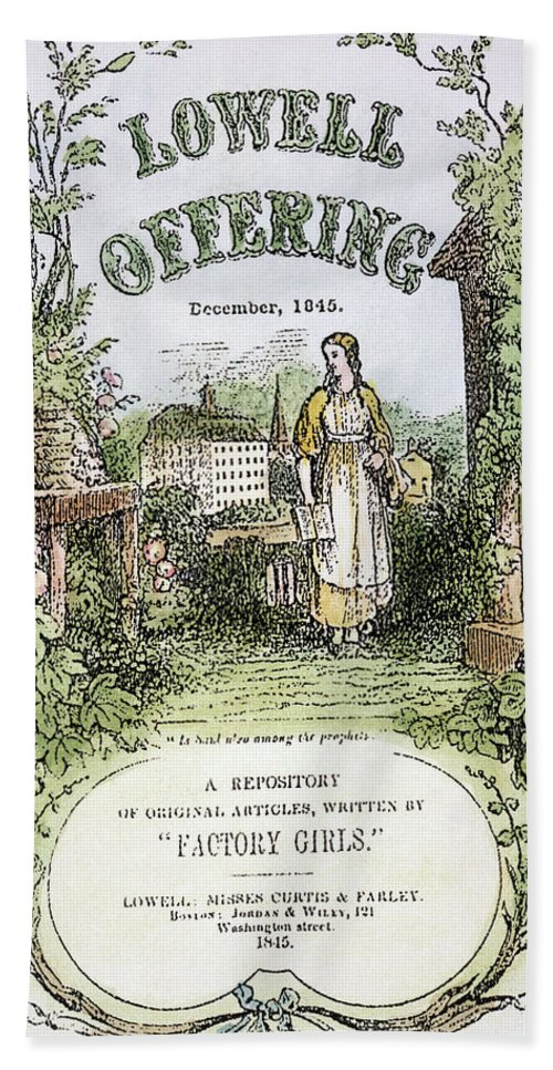 1845 Hand Towel featuring the photograph Lowell Offering, 1845 by Granger
