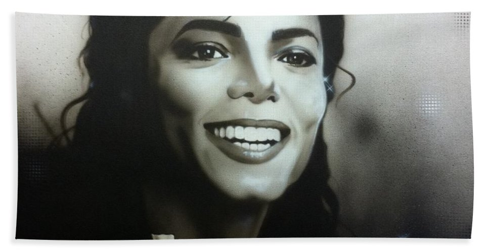 Michael Jackson Bath Towel featuring the painting M. J. by Christian Chapman Art