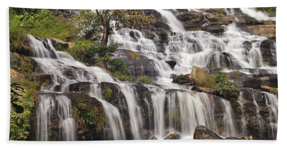 3scape Bath Sheet featuring the photograph Mae Ya Waterfall by Adam Romanowicz
