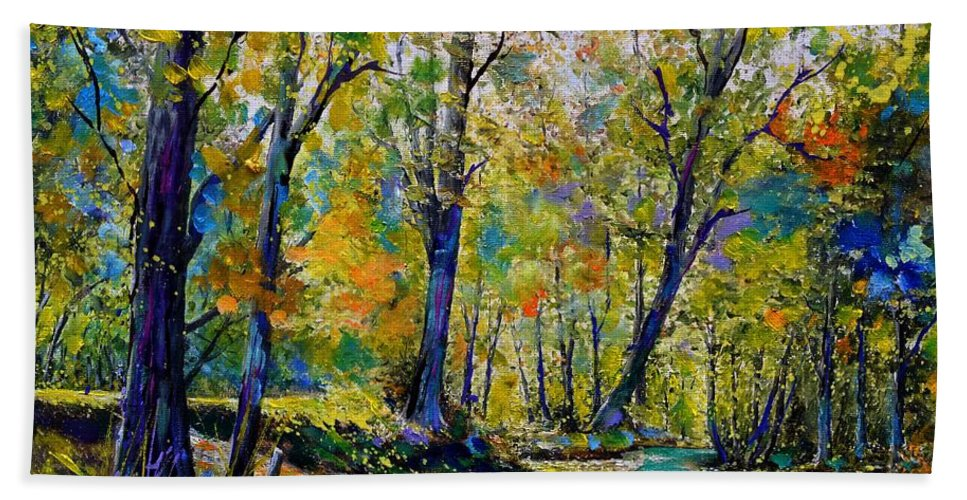Landscape Hand Towel featuring the painting Magic river by Pol Ledent