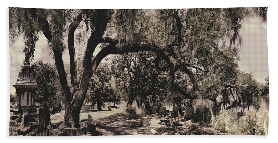 Castle Bath Towel featuring the photograph Magnolia Cemetery by James Christopher Hill