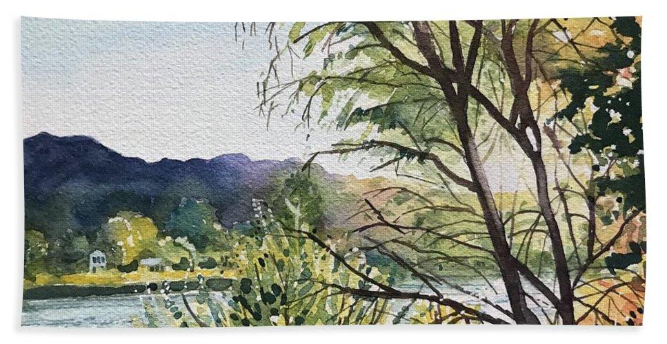 Malibou Lake Bath Towel featuring the painting Fall - Malibou Lake by Luisa Millicent