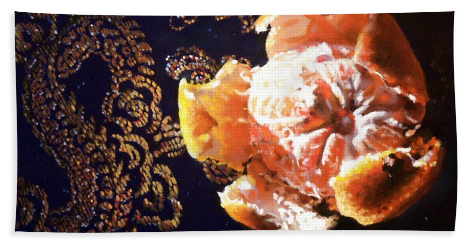 Mandarin Bath Towel featuring the painting Mandarin by Dianna Ponting