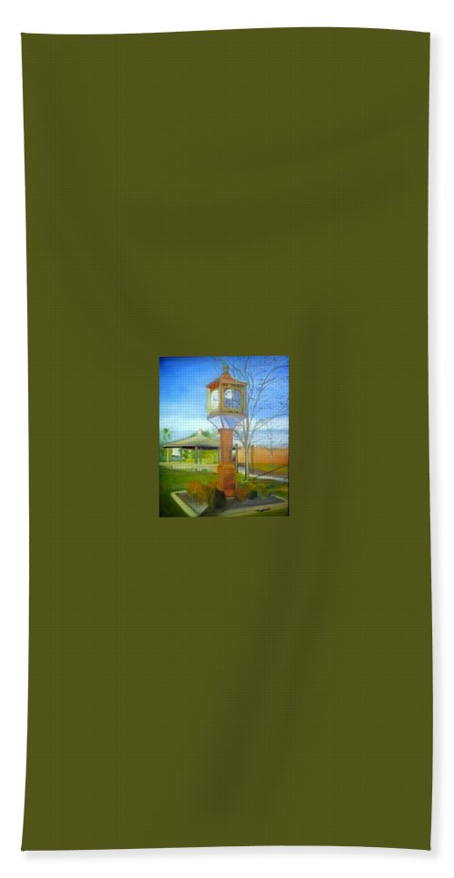Maple Shade Bath Towel featuring the painting Maple Shade Clock by Sheila Mashaw