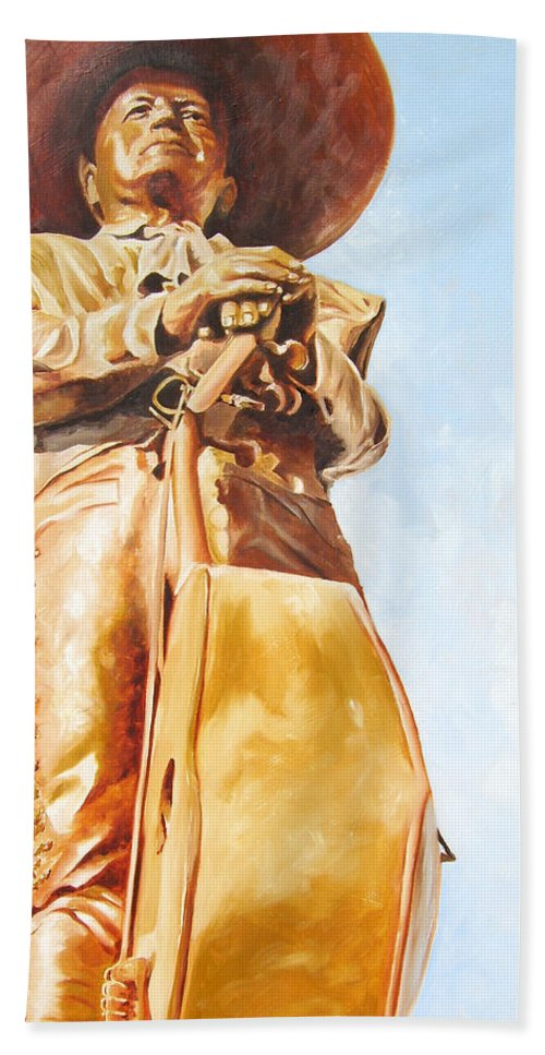 Mariachi Hand Towel featuring the painting Mariachi by Laura Pierre-Louis