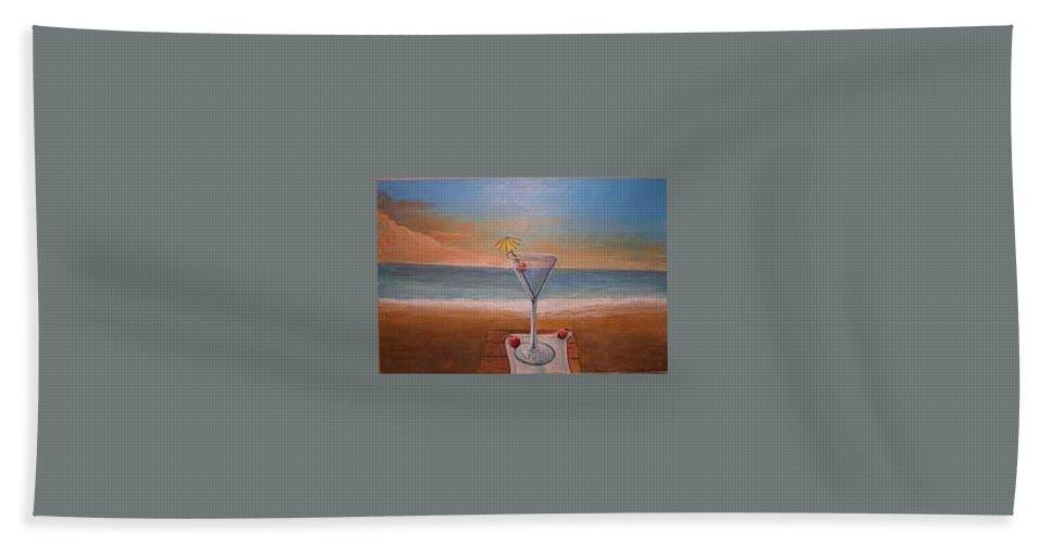 Rick Huotari Bath Towel featuring the painting Martini In Door County by Rick Huotari